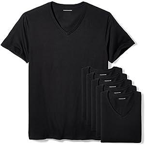 Amazon Essentials 6-Pack V-Neck Undershirts Camisa, Negro (Black), XX-Large