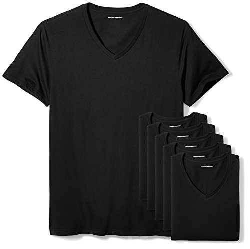 Amazon Essentials 6-Pack V-Neck Undershirts Camisa, Negro (B