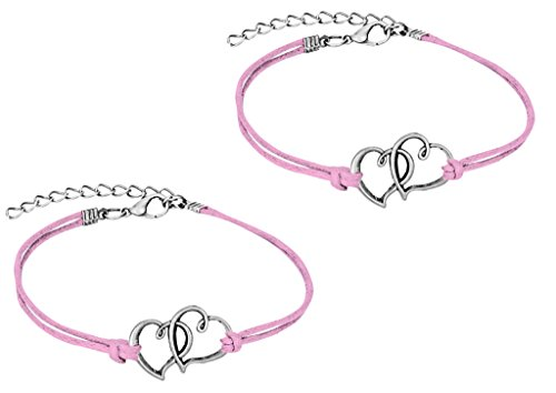Penny & Piper Set of 2 Friendship Bracelets, Steel Double Hearts Bracelets with Soft Pink Leatherette Cord