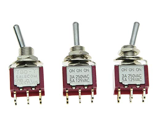 SALECOM 3x DPDT 6 Pin 3 Position ON/ON/ON Guitar Mini Toggle Switch Car/Boat Switches