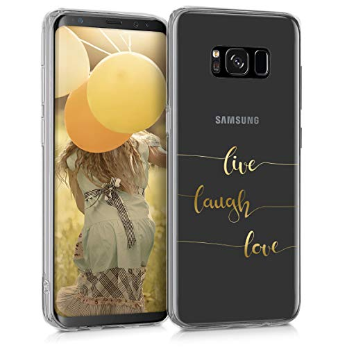kwmobile Hülle kompatibel mit Samsung Galaxy S8 - Handyhülle - Handy Case Live Laugh Love Gold Transparent