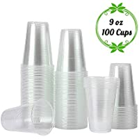 100 Count TashiLiving Disposable Hot and Cold Clear Plastic Coffee Cups for Water, Tea, Juice, Soda, Milk, 9 Ounce