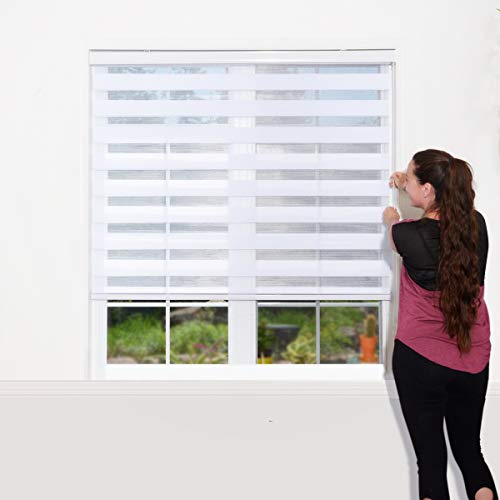 WYMO Zebra Blinds for Windows - 36 X 64 inch Sheer - Horizontal Window Blinds and Shades for Daytime and Nighttime - Light Filtering Roller Shades for Windows with White Valence …