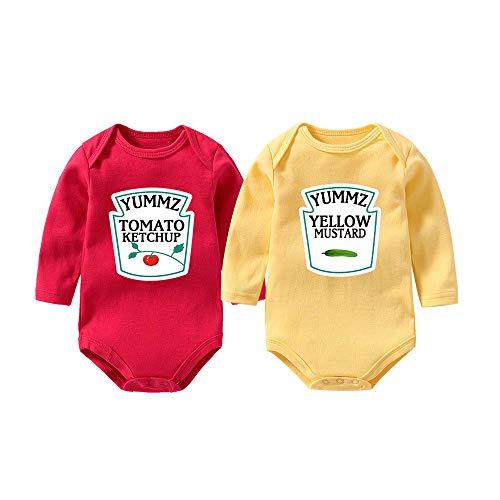 """Culbutomind Tutina per neonati con scritta """"Yummz Pomodoro Ketchup"""", mostarda, rosso, giallo, completo bimbi e bimbe, vestiti, per gemelli Giallo 1 9 mesi"""