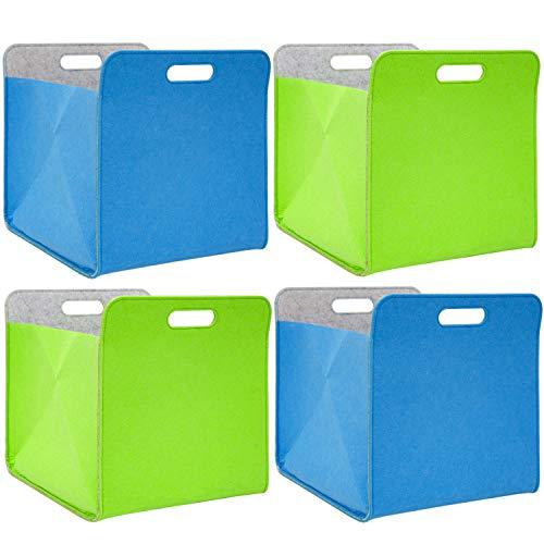 DuneDesign 4er Set Filz Aufbewahrungsbox 33x33x38 cm Kallax Filzkorb Regal Einsatz Box Grün Blau