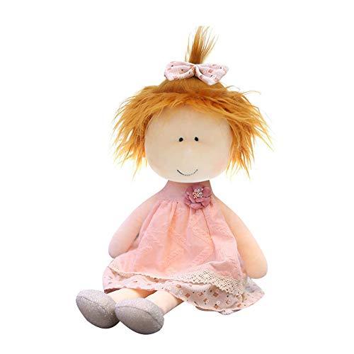 Muñecas de trapo de peluche de 35 cm, Muñecas De Trapo Hechas a Mano, Muñeca De Trapo con Ojos Pequeños Muñeca, Juguete de Felpa Muñeca De Trapo Suave Juguete para niñas, Rosa Claro