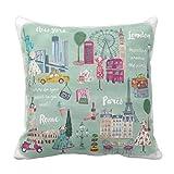 Jbralid Travel London New York Paris Rome Cartoon Pillow Cover Cotton Linen Indoor Decor Throw Pillow Case 16x16 in