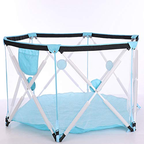 AELEGASN Parque Infantil De 6 Paneles, Portátil, Lavable, con Malla Transpirable para Bebés, Recién Nacidos, Interiores Y Exteriores,Azul