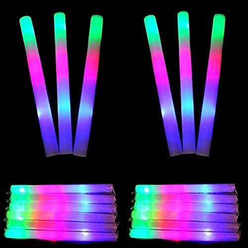 Lifbeier 30 PCS Led Foam Sticks - Flashing foam glow sticks Party Supplies Light up Foam Sticks Batons for Birthday, Wedding, Christmas, Halloween