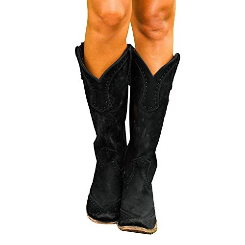 Stivali Donna Elegante Longra Stivaletti Invernali Donna Tacco Basso Cowboy Boots Casual Western Stivaletto Donna con Frange Stivali Chelsea Scarpe Zeppa Stivaletti