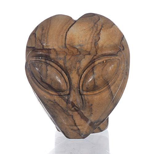 Mineralbiz 1.4' - 1.5' Natural Picture Jasper Carved Alien Skull Head Crafts, Star Being Carving, Crystal Skull Sculpture