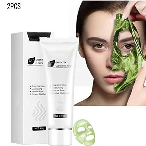 Green Tea Peel off Face Mask, Blackhead Mask Peel off Green Tea, Gel de limpieza profunda anti-acné, Mascarilla facial limpieza profunda para el acné, Mascarilla facial minimizadora dporos (2PCS)