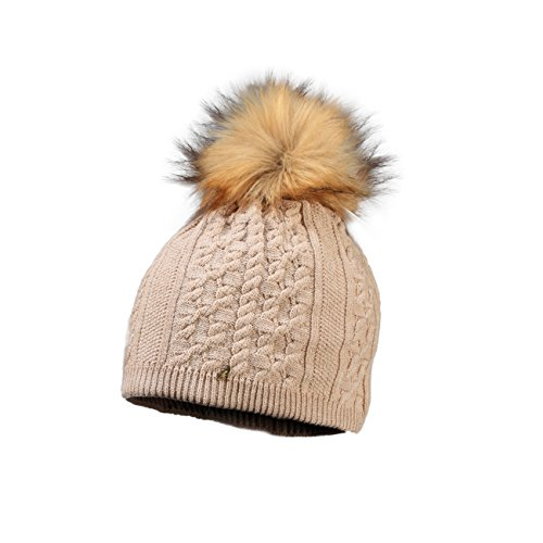 Starling Femi  Beanie Faux Fur Bobble Hat Charcoal