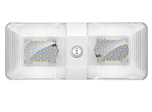 ShinePick 12 V Lámparas LED, luces LED para interior del coche, plafón de techo, iluminación interior del coche, luz con interruptor para coche/RV/Camper/Camión/Remolque/Van/Barco (1 paquete)