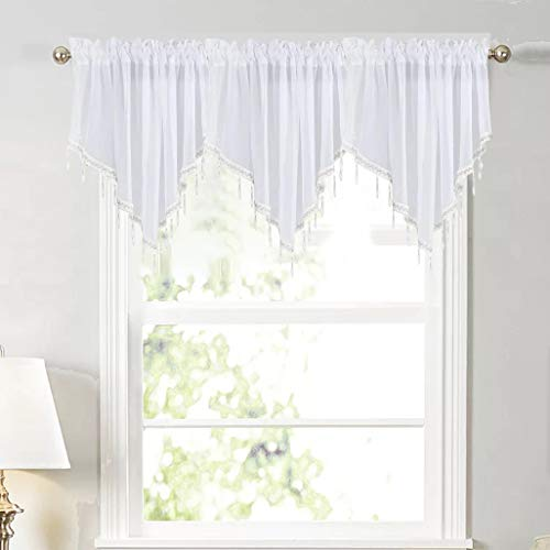 White Sheer Tulle Beaded Valance Curtains 2 Pieces Kitchen Cafe Rod Pocket Swag Window Curtain Valances with Bead Trim for Bedroom Bathroom Nursery Living Room, 51 x 24 Inch Length (White)