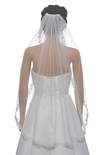 """1T 1 Tier Flower Scallop Embroided Lace Pearl Veil - White Fingertip Length 36"""" V466"""