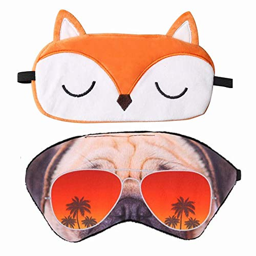 2Pcs 3D Sleep Mask Lightweight Soft Funny Eye Mask Cartoon Eye Cover with Elastic Strap for Travel Sleepover Pajamas Slumber Party Favors Accessories
