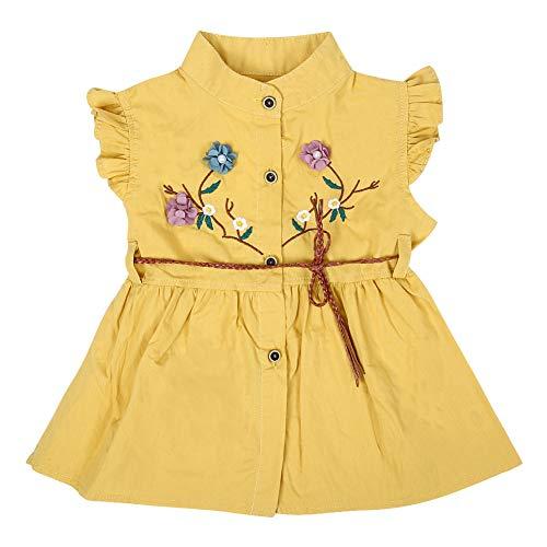 Baby meisjes zomer bloem jurk kleine kinderen ruches mouwen zomerjurk infant casual party verjaardag prinses rok jurk met riem met ruches 100 geel