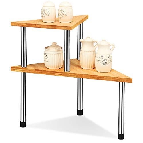 COSTWAY 2er Set Küchen Eckregal, Gewürzregal aus Bambus, Küchenregal, Küchengestell, Lagerregal, Schreibtischregal ideal für Küche, Badezimmer oder Arbeitszimmer (Dreieck)