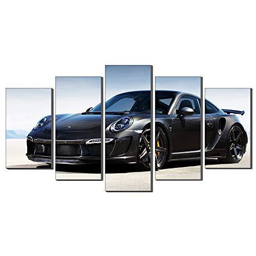 Five-Seller Automobile Sportiva Nera di Porsche Quadro su Tela Stampa Quadro Quadro Stampa su Tela per La Decorazione Domestica Soggiorno, 5 Pannelli (Nessuna Cornice,75_x_150_cm)