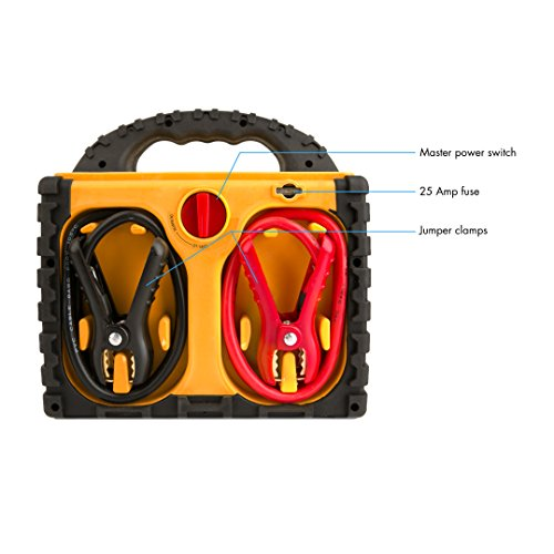 Wagan EL2464 Power Dome LT Auto 300 Peak Amp Jump Starter with 260 PSI Air Compressor, 200W Power Inverter, AC Receptacle, DC Sockets, USB Power Port, LED Worklight, Yellow