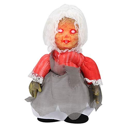 Evonecy Scary Walking Doll, Muñeca Espeluznante con Pilas de Halloween, Barra de decoración con Control de Voz para la Fiesta de Halloween en casa(Z113 Walking Ghost Baby with White Hair)