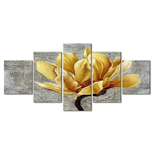 Alenijun Plakfolie, gele en grijze bloemen, abstracte print op canvas, Home Decor Stickers 5 panelen, poster voor slaapkamer, woonkamer, kunstwerk, geschenken frame 40x60cmx2 40x80cmx2 40x100cmx1