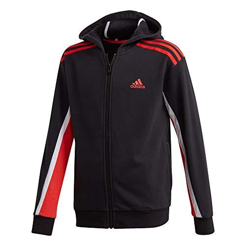 adidas Jungen B Bold FZ HD Sweatshirt, Schwarz/Roalre, 164 (13/14 años)