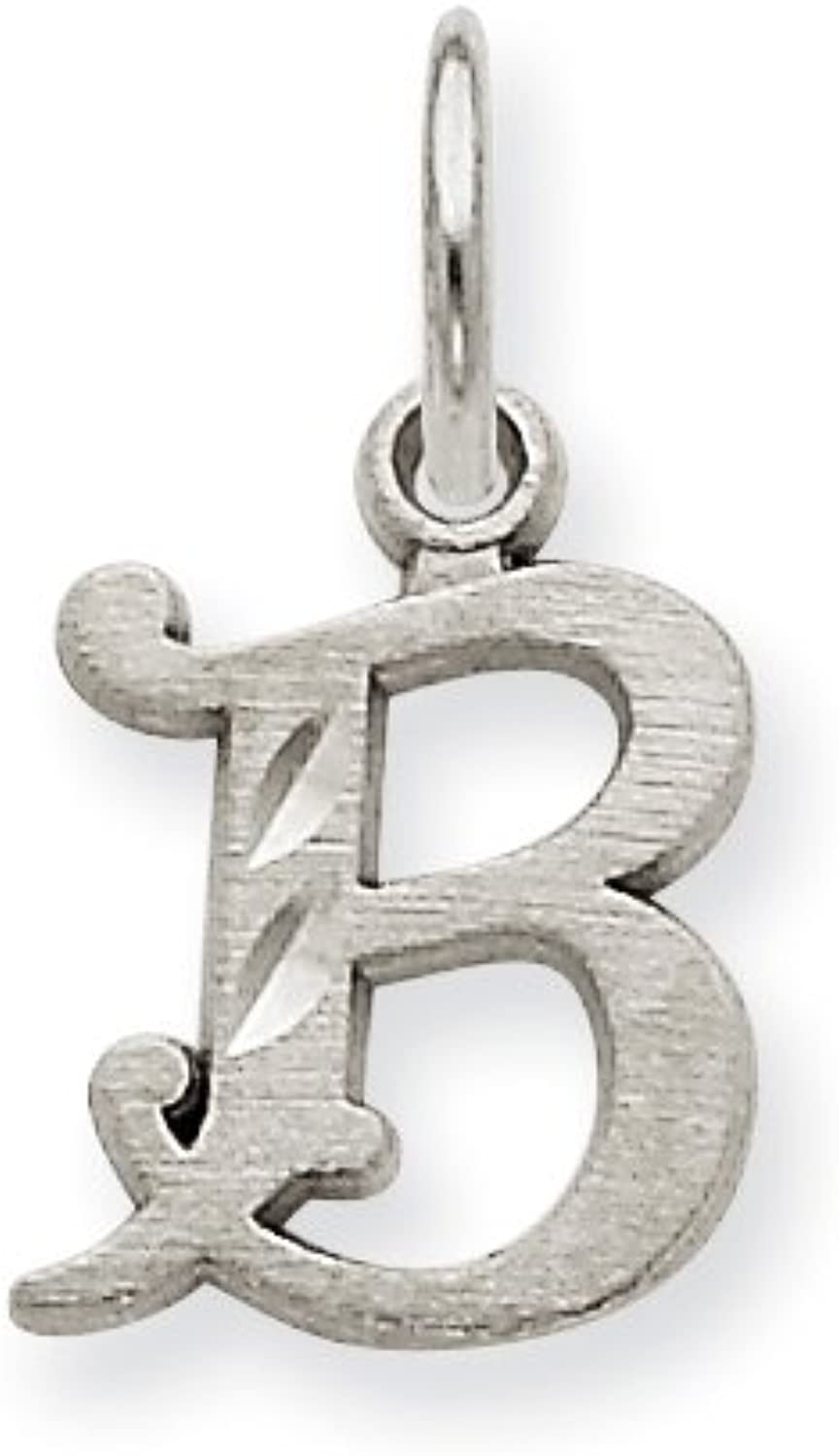 Diamond2Deal 14k White gold Diamondcut Initial B Pendant