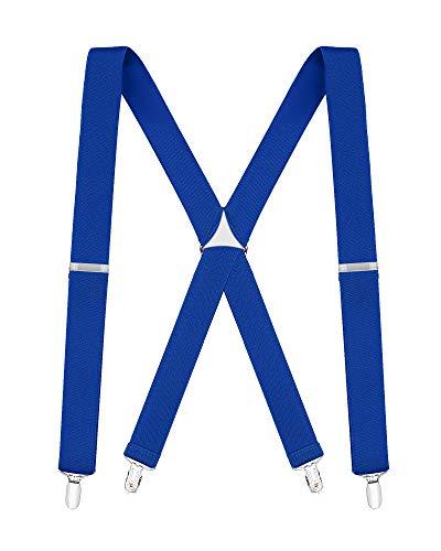 Buyless Fashion Tirantes elásticos y ajustables en forma de X para hombres con clips de metal de 3 cm de ancho