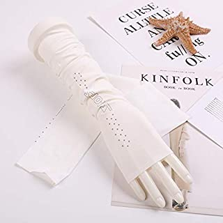 SHENTIANWEI Women's UV-resistant Stretch Ice Silk Sleeve Sun Protection Arm Set (Color : White, Size : One size-Five pairs)