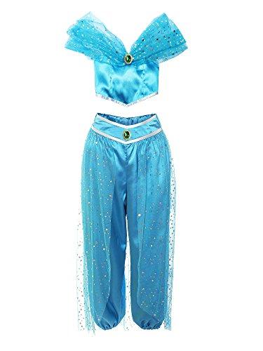 ReliBeauty Mädchen Paillette Schulterfrei Ärmellos Top Hose Set Karneval Cosplay Kostüme, Blau, 98-104
