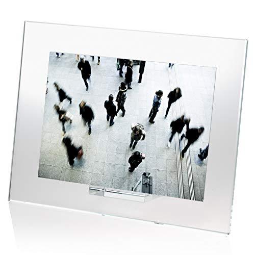 OMODOMO - Marco de cristal para fotos de 18 x 13 cm, hecho a mano en Italia. Portafotos de mesa Ice, idea regalo único para aniversario, boda, graduación, bodas de oro y ocasiones especiales.