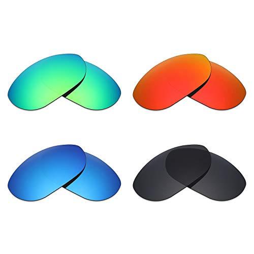Mryok Polarisierte Ersatzgläser für Oakley Monster Dog Sonnenbrille – Stealth Black/Fire Red/Ice Blue/Emerald Green