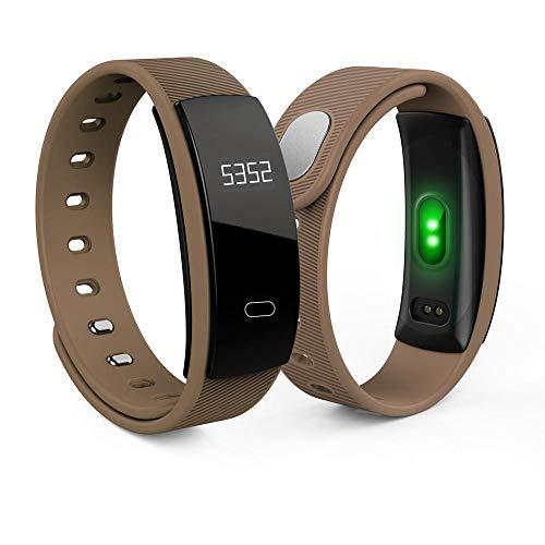 GAFAGAFA fitnessuhr Herren Drahtlose Smart Armband Fitness Aktivität Schrittzähler Tracker Blutdruck Herzfrequenz Schlaf Monitor Wasserdicht Sport Smart Uhren Kaffee