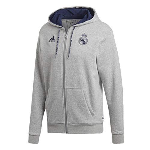 adidas Men's Real Madrid Full Zip Hoodie 2019-20 (Small) Medium Grey Heather/Night Indigo