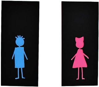 Garçon et fille chiffres ensemble de deux enseignes de salle de bain - signes de toilettes modernes - signes de WC drôles...