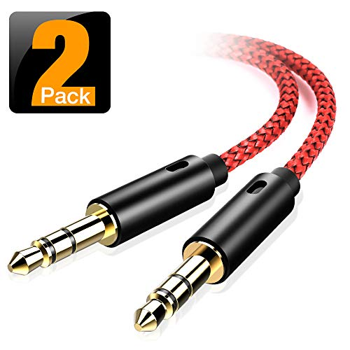 oldboytech AUX Cable, [2-Pack,45CM,Hi-Fi Sound Quality] 3.5mm Auxiliary Audio Cable Nylon Braided AUX Cord for Car/Home Stereos,Speaker,iPhone iPod iPad,Headphones,Sony Beats,Echo Dot & More