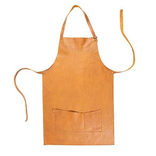 YAYAS Delantal de piel marrón claro, lleno de estilo y elegancia, ideal para los amantes de la barbacoa y la parrilla, el condimento ya no importa. Hecho a mano (US-Mandil Piel Cafe Claro)