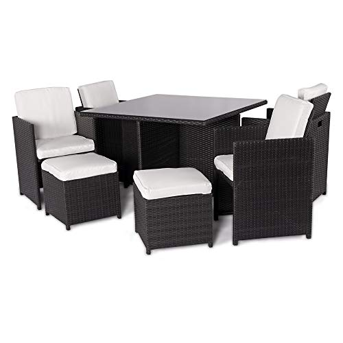 Harts Outdoor Rattan Cube set - 9 Piece Dining Set Wicker patio conservatory furniture Includes Rain Cover(Black Rattan)