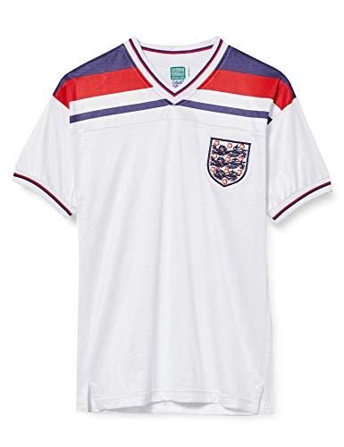 Score Draw - Camiseta de fútbol Retro de Inglaterra 1982 para Hombre, Hombre, Camiseta de fútbol Retro, ENG82HWCFPCSSXSF, Blanco, XS