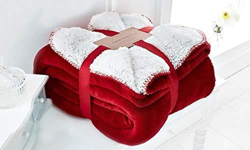 EDS Red weiche Sherpa Schlafsofa Decke Kleine Abmessungen, geringes Gewicht und All Season Werfen/Decke für Bett und Couch, (Rot, Klein)