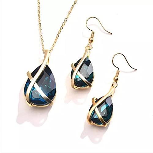 RTEAQ 2 Piezas Moda Collar Joyas Gargantilla Conjunto de Collar de Pendientes de Cristal Azul Oscuro, joyería para Mujer, Regalo de cumpleaños, Collar de Color Plateado a la Moda, Regalo para Mujer