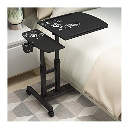 Days Overbed Table, Portable Laptop Stand Desk Cart With Mouse Board, Adjustable Height, Lockable Casters Foldable Laptop Stand FFFF (Color : Black flower B)