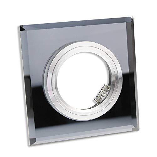 6x inbouwframeset van glas voor GU10 MR16 - geschikt voor LED- en halogeenlampen, hoogwaardige afwerking - Ø60-70mm boorgat, frame in elegante look in glasoptiek | zwart - hoekig