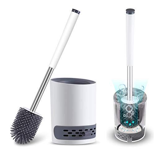Fretrecy Zestaw szczotek toaletowych i uchwytów, łazienka głęboko czyszcząca szczotka toaletowa szczotka antypoślizgowa z wytrzymałym miękkim włosiem TPR, błoto okrzemkowe i zdejmowana szuflada na wodę szybkoschnąca (szary biały)