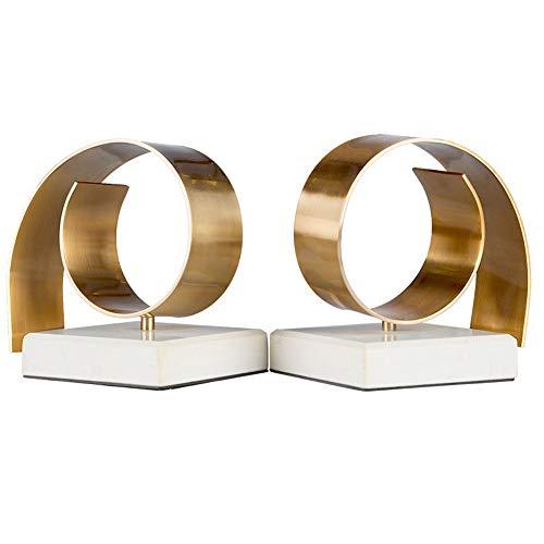 MICEROSHE Titular De Sujetalibros Arte de Acero Inoxidable de Alta Resistencia de Escritorio sujetalibros Sujetalibros Decorativo for Ministerio del Interior, 1 par (Color : Oro, tamaño : Free Size)