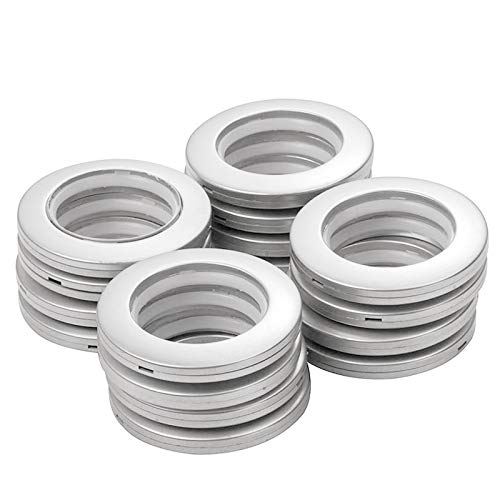 INCREWAY Anillos de Cortina con Ojales, 16 Piezas 42mm diámetro Interno ABS Plastic Redondos presión Conjunto de Ojales Apto para Cortinas y Bricolaje