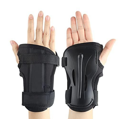 Andux Ski Gloves Extended Wrist Palms Protection Roller Skating Hard Gauntlets Adjustable HXHW-04 (XL)