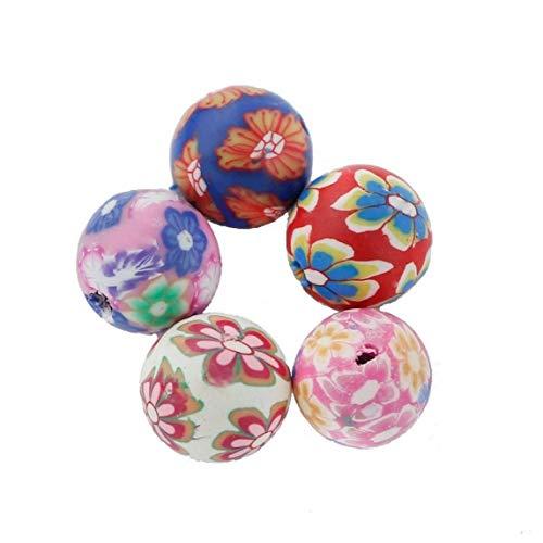 lujiaoshout 50pcs Ronda de la Arcilla del polímero Granos Granos Hechos a Mano del Espaciador Coloridas de la joyería Que Hace Arte de la Belleza